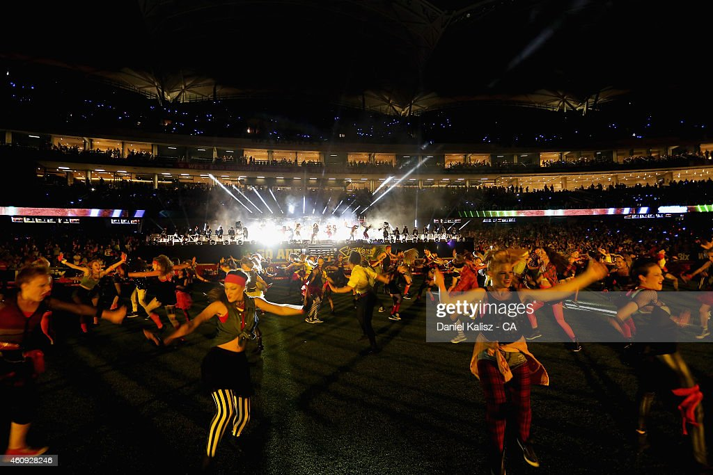 Performers are seen during celebrations for New Years Eve after the Big Bash League match between the Adelaide Strikers and the Hobart Hurricanes at Adelaide Oval on December 31, 2014 in Adelaide, Australia.