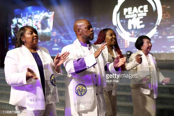 Performers are seen during Peace Starts With Me Rally at The City Of Refuge on April 06, 2019 in Gardena, California.