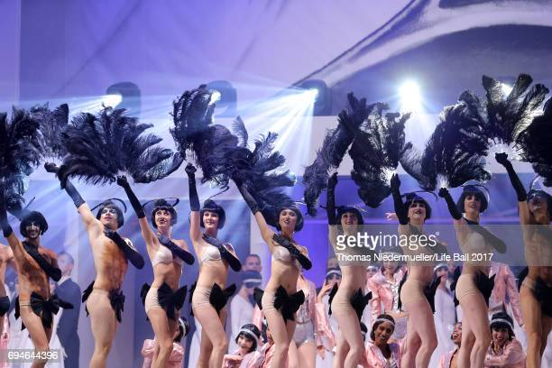 Performers are seen during the Life Ball 2017 show at City Hall on June 10 2017 in Vienna Austria