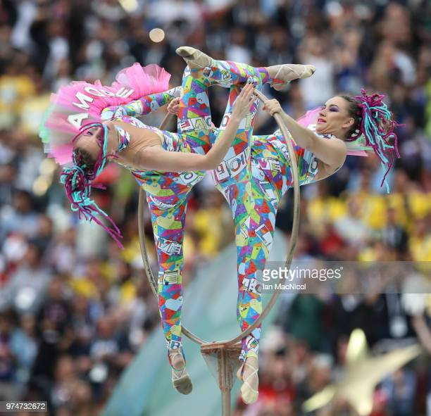 Performers are seen during the Opening Ceremony during the 2018 FIFA World Cup Russia group A match between Russia and Saudi Arabia at Luzhniki...