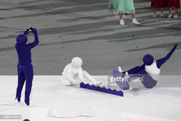 Performers are seen during the Opening Ceremony of the Tokyo 2020 Olympic Games at Olympic Stadium on July 23, 2021 in Tokyo, Japan.