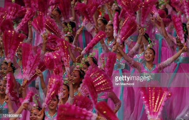 Performers are seen in the Bird Nest Stadium during the opening ceremony of The Beijing Olympic Games on August 08, 2008 in Beijing, China.