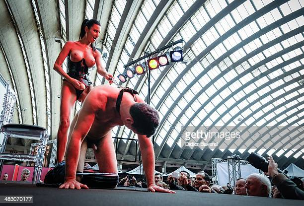 Performers are seen on stage at Eropolis The World Exhibition of Erotic Fair at the Acropolis on April 5 2014 in Nice France