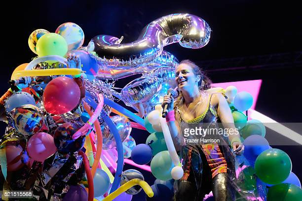 Performers are seen on stage during the Sufjan Stevens show on day 1 of the 2016 Coachella Valley Music Arts Festival Weekend 1 at the Empire Polo...