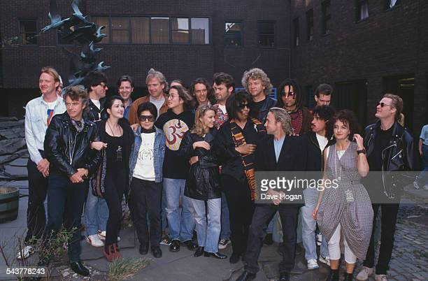 Performers at 'John Lennon The Tribute Concert' at the Pier Head in Liverpool 5th May 1990 The money raised was used to fund scholarships for local...