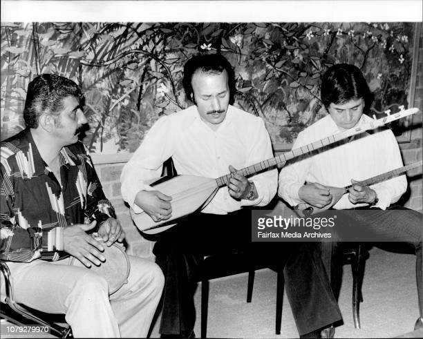 Performers at the Boite the Anatolian Minstrels L to R Kemal Yalim on the Darbuka Orhan Gazi on the 9 string Baglama and Rifat Yaka on the 3 string...