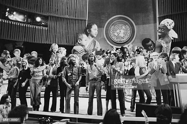 Performers at the finale of 'The Music for UNICEF Concert A Gift of Song' benefit concert held at the United Nations General Assembly in New York...