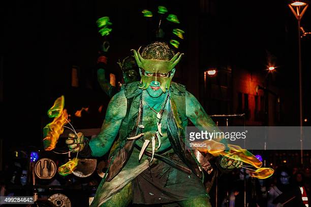 performers at the samhuinn fire festival, edinburgh - samhuinn stock photos and pictures