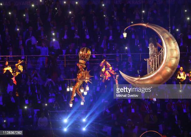 Performers attend the opening ceremony of the 29th Winter Universiade at Platinum Arena March 2, 2019 in Krasnoyarsk, Russia, . Vladimir Putin is on...