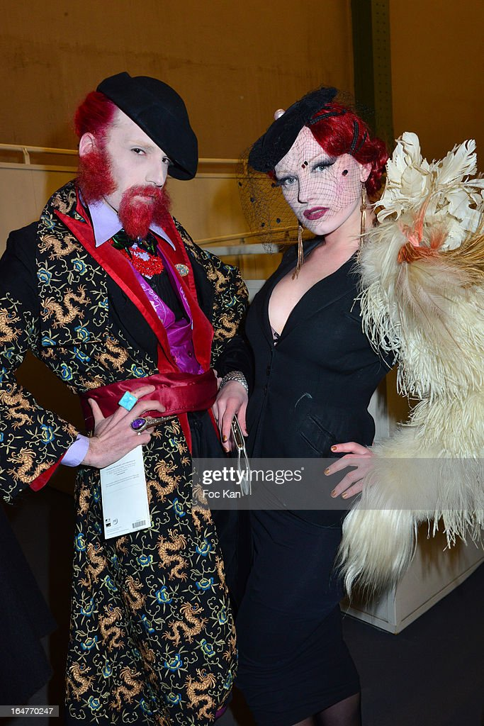 Performers Aymeric Bergada du Cadet and Dyna Dagger attend the 'Art Paris 2013' Preview at Le Grand Palais on March 27, 2013 in Paris, France.