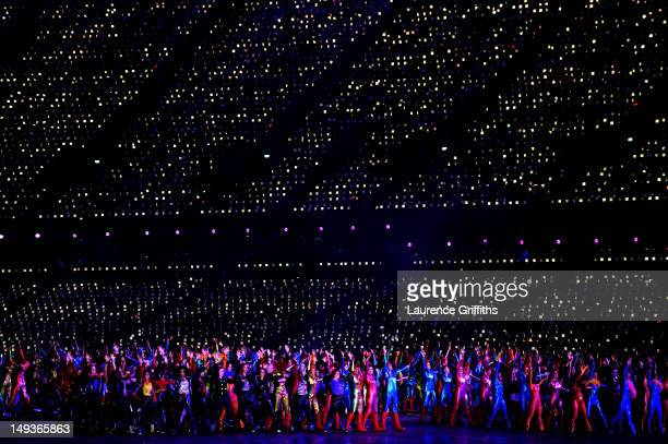 Performers dance as British music spanning the decades is played during the Opening Ceremony of the London 2012 Olympic Games at the Olympic Stadium...
