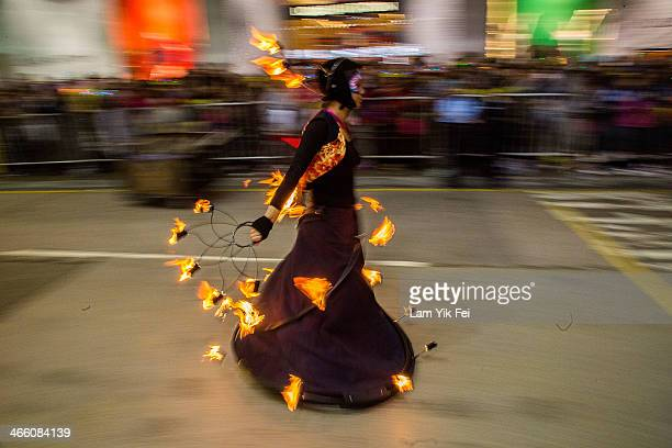 Performers dance at the 2014 Cathay Pacific International Chinese New Year Night Parade on January 31 2014 in Hong Kong Hong Kong The parade featured...