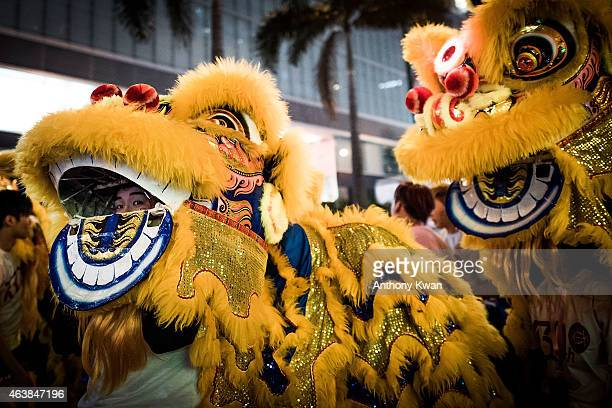 Performers dance at the 2015 Cathay Pacific International Chinese New Year Night Parade on February 19 2015 in Hong Kong Hong Kong The parade...