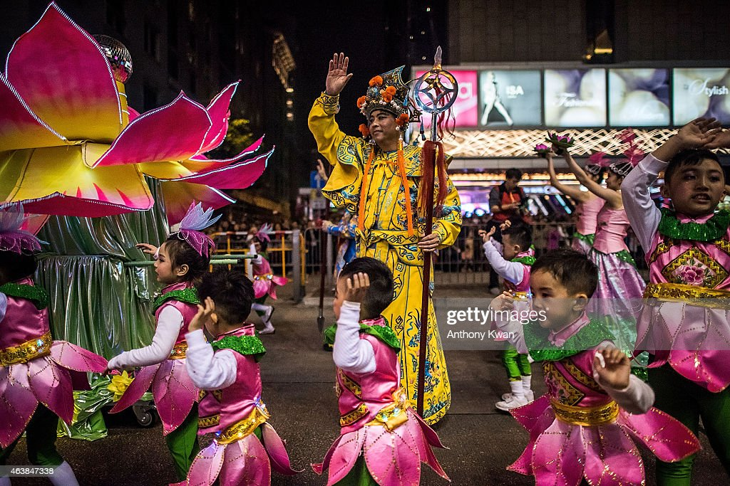 Performers dance at the 2015 Cathay Pacific International Chinese New Year Night Parade on February 19, 2015 in Hong Kong, Hong Kong. The parade featured illuminated floats accompanied by local and international performing groups which entertained both locals and tourists alike on Chinese Lunar New Year. Tens of thousands gathered in Hong Kong today to celebrate the Chinese New Year and welcome the Year of the Goat, with New Year's day falling on February 19. Chinese new Year is the most important festival in the Chinese calendar and is widely celebrated across Asia.