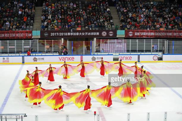 Performers dance during the 2017/2018 Canadian Women's Hockey League CWHL match between Kunlun Red Star WIH and Toronto Furies at Shenzhen Dayun...