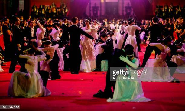 Performers dance during the 24th Lifeball in front of City Hall in Vienna Austria on June 10 2017 R The Life Ball is the largest European charity...