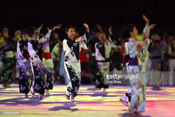 Performers dance during the Closing Ceremony of the Tokyo 2020 Olympic Games at Olympic Stadium on August 08, 2021 in Tokyo, Japan.