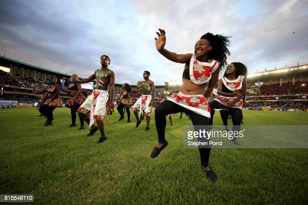 Performers dance during the closing ceremony on day five of the IAAF U18 World Championships on July 16 2017 in Nairobi Kenya