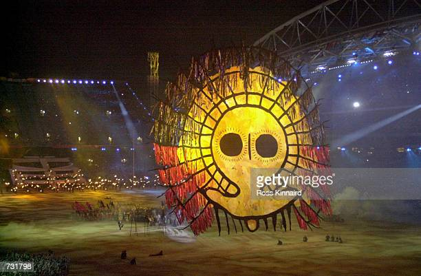 Performers dance during the Fire section of the opening ceremonies of the 2000 Olympic Games September 15 2000 at the Olympic Stadium in Sydney...