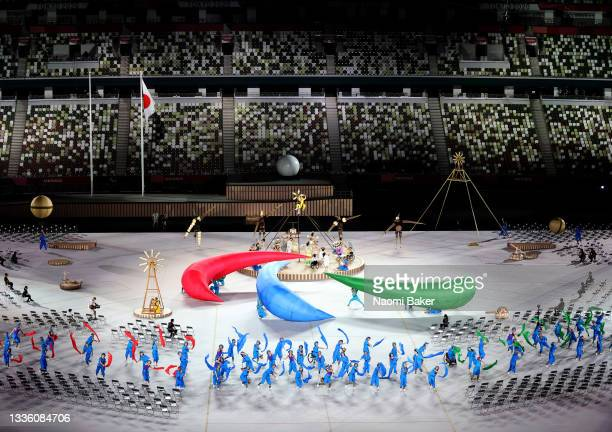 Performers dance during the opening ceremony of the Tokyo 2020 Paralympic Games at the Olympic Stadium on August 24, 2021 in Tokyo, Japan.