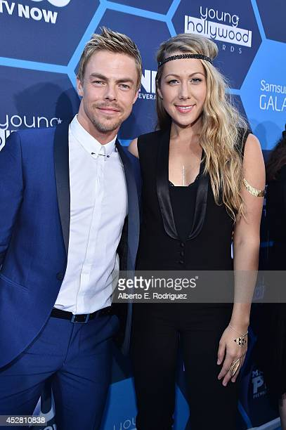 Performers Derek Hough and Colbie Caillat attend the 2014 Young Hollywood Awards brought to you by Samsung Galaxy at The Wiltern on July 27 2014 in...
