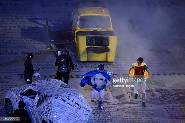 Performers dressed as Batman and Robin from an episode of Only Fools and Horses perform during the Closing Ceremony on Day 16 of the London 2012...