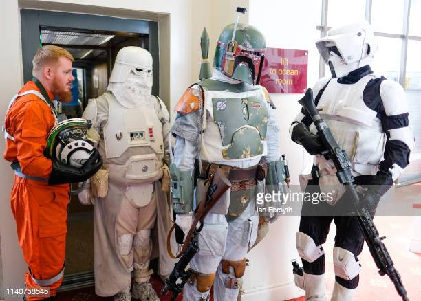 Performers dressed as characters from the Star Wars movies exit a lift on the first day of the Scarborough Sci-Fi weekend at the seafront Spa Complex...