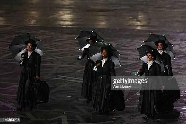 Performers dressed as Mary Poppins characters during the Opening Ceremony of the London 2012 Olympic Games at the Olympic Stadium on July 27 2012 in...