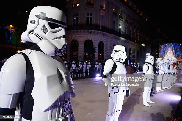 Performers dressed as Stormtroopers poses during the launch of Galeries Lafayette Christmas Star Wars Decorations at Galeries Lafayette on November 4...