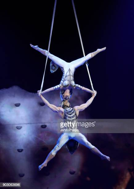 Performers during the Cirque du Soleil OVO dress rehearsal at Royal Albert Hall on January 9 2018 in London England