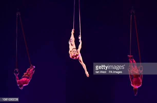 Performers during the dress rehearsal of Totem by Cirque Du Soleil at the Royal Albert Hall London