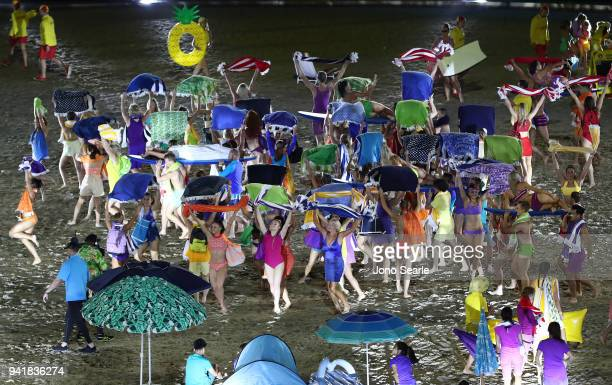 Performers during the Opening Ceremony for the Gold Coast 2018 Commonwealth Games at Carrara Stadium on April 4 2018 on the Gold Coast Australia