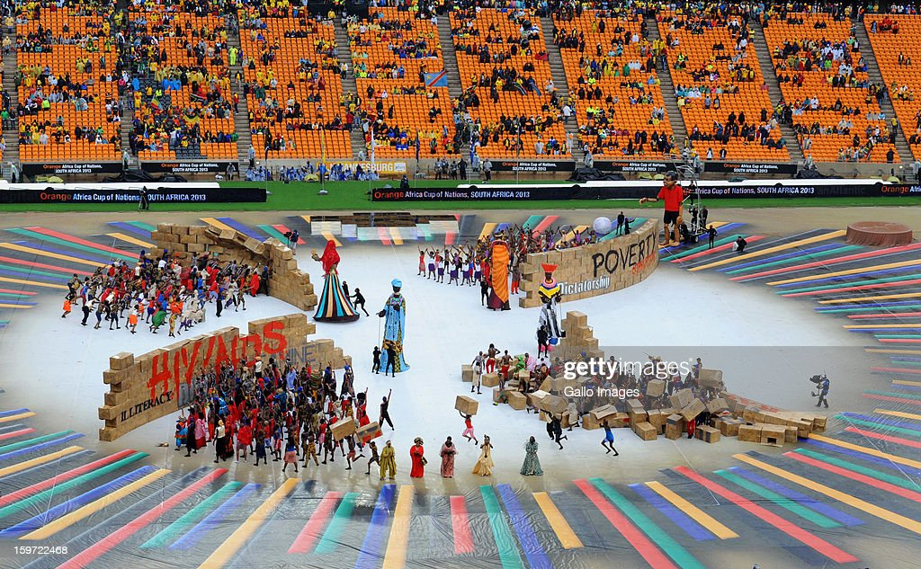 Performers during the opening ceremony of the 2013 African Cup of Nations at the National Stadium on January 19, 2013 in Johannesburg, South Africa.