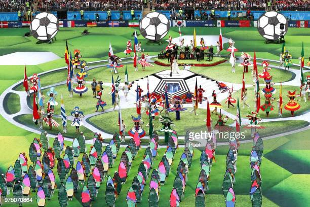Performers during the opening ceremony prior to the 2018 FIFA World Cup Russia Group A match between Russia and Saudi Arabia at Luzhniki Stadium on...