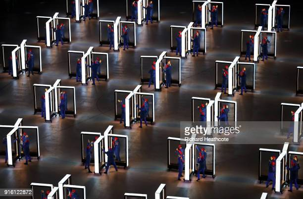 Performers entertain during the Opening Ceremony of the PyeongChang 2018 Winter Olympic Games at PyeongChang Olympic Stadium on February 9 2018 in...