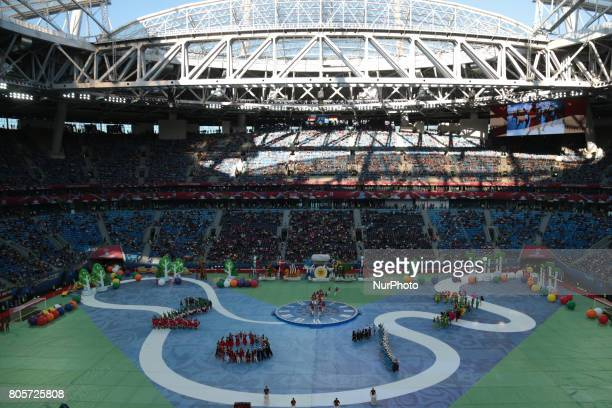 Performers entertain the crowd at the closing ceremony prior to the FIFA Confederations Cup final match between Chile and Germany at Saint Petersburg...