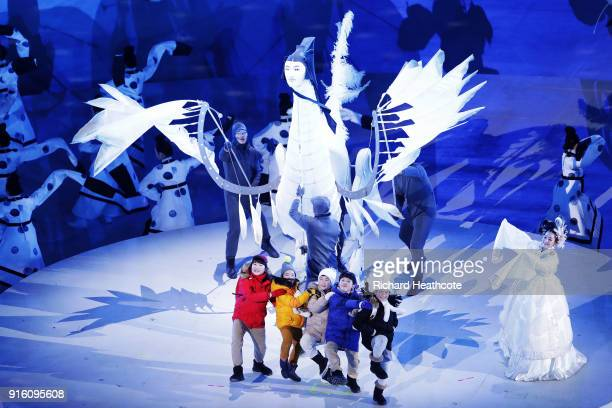 Performers entertain the crowd during the Opening Ceremony of the PyeongChang 2018 Winter Olympic Games at PyeongChang Olympic Stadium on February 9...