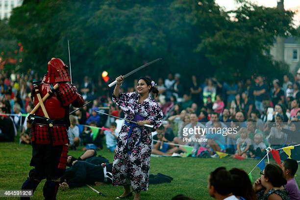 Performers entertain the crowds at the Lantern Festival in Albert Park on February 27 2015 in Auckland New Zealand New Zealanders attend the annual...