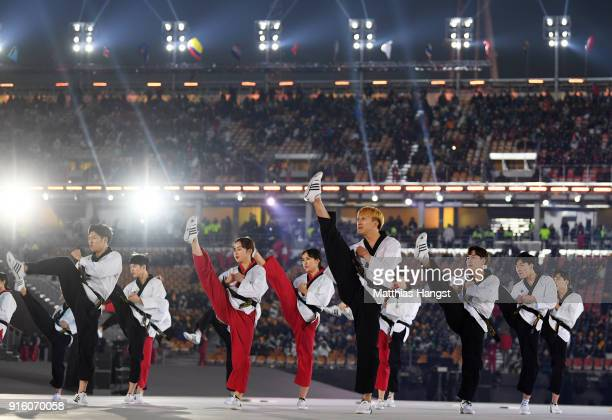 Performers entertain the fans during the Opening Ceremony of the PyeongChang 2018 Winter Olympic Games at PyeongChang Olympic Stadium on February 9...