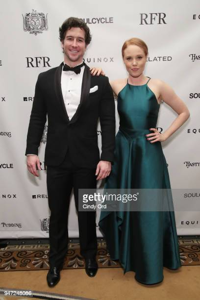 Performers Evan Todd and Jessica Keenan Wynn of Beautiful the Musical attend as the Hasty Pudding Institute awards Derek McLane with the Order of the...