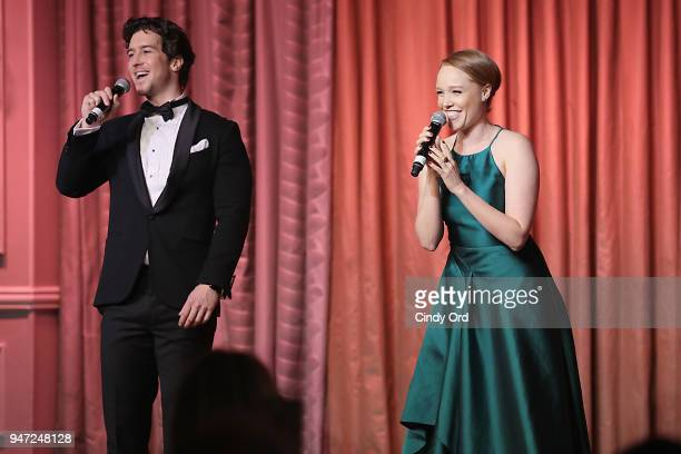 Performers Evan Todd and Jessica Keenan Wynn of Beautiful the Musical perform onstage as the Hasty Pudding Institute awards Derek McLane with the...
