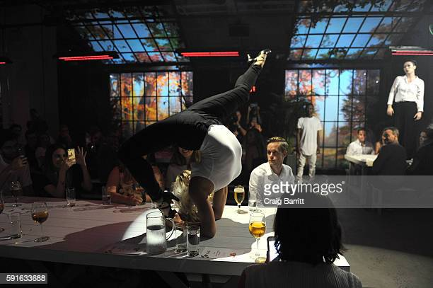 Performers from 45 DEGREES – Cirque du Soleil's events and special projects company – entertain guests at Stella Artois Le Savoir a multisensorial...