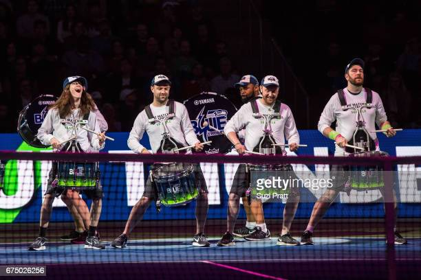 Performers from Blue Thunder drumline perform at the Match For Africa 4 exhibition match at KeyArena on April 29, 2017 in Seattle, Washington.