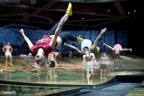 Performers from Cirque du Soleil run through a rehearsal for their Alegria show at Nokia Arena on August 7 2012 in Tel Aviv Israel Algeria opens on...