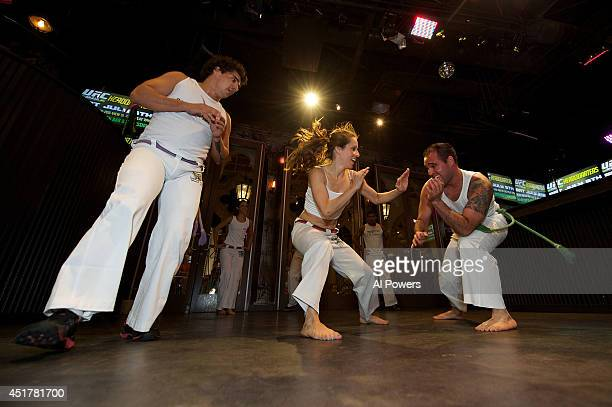 Performers from Grupo Capoiera Brazil perform at the UFC Brazilian party during UFC International Fight Week inside the Rockhouse at The Venetian Las...