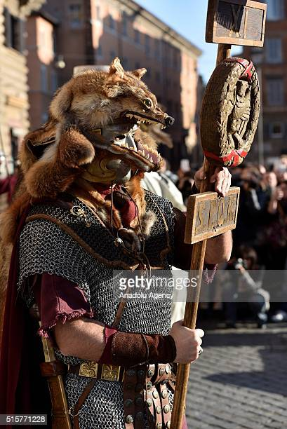 """Performers from the """"Gruppo Storico Romano"""" take part in a show, reenacting the assassination of Julius Caesar in Rome, Italy on March 16, 2016 to..."""