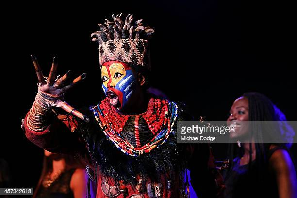 Performers from the musical The Lion King sing on stage at the 10th anniversary celebration of The Million Dollar Lunch at the Park Hyatt on October...