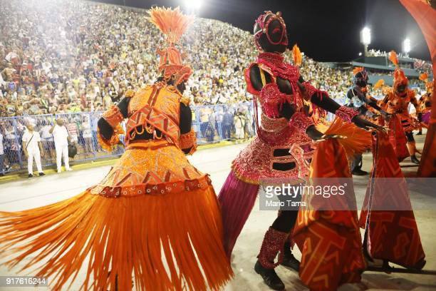 Performers from the Salgueiro samba school parade in the Sambadrome on February 13 2018 in Rio de Janeiro Brazil Carnival is the grandest holiday in...