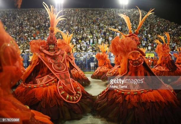 Performers from the Salgueiro samba school parade in the Sambadrome on February 13, 2018 in Rio de Janeiro, Brazil. Carnival is the grandest holiday...