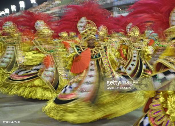 TOPSHOT Performers from the Salgueiro samba school perform during the last night of Rio's Carnival parade at the Sambadrome Marques de Sapucai in Rio...